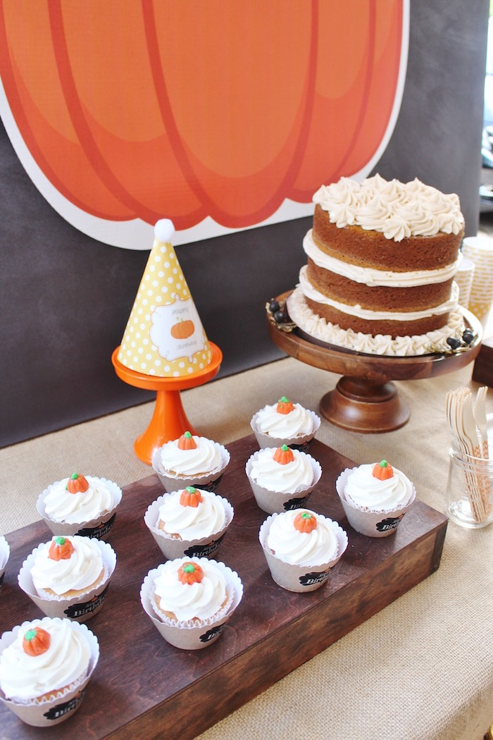 Cake and cupcakes from a Little Pumpkin Fall Birthday Party on Kara's Party Ideas | KarasPartyIdeas.com (8)