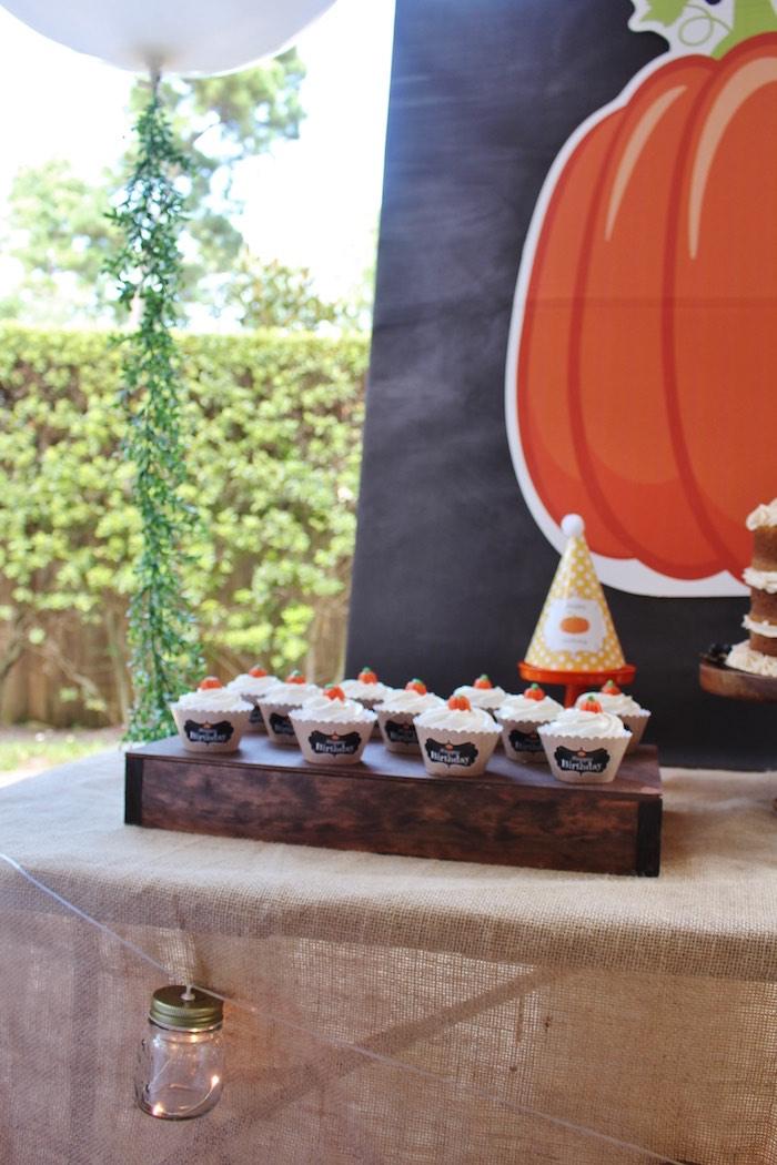 Head table detail from a Little Pumpkin Fall Birthday Party on Kara's Party Ideas | KarasPartyIdeas.com (6)