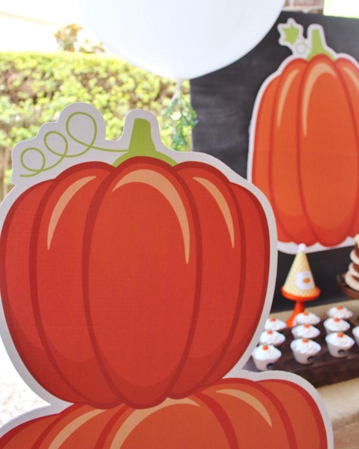 Pumpkin standee from a Little Pumpkin Fall Birthday Party on Kara's Party Ideas | KarasPartyIdeas.com (5)