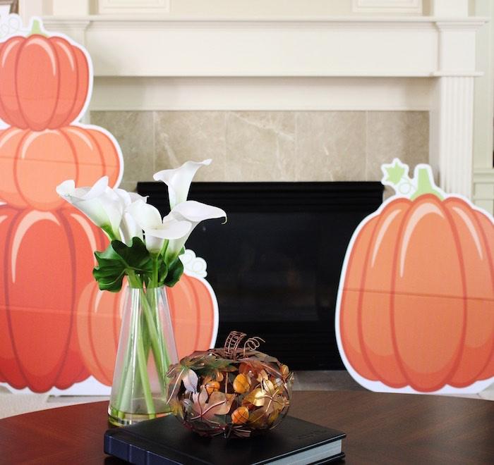 Pumpkin standees from a Little Pumpkin Fall Birthday Party on Kara's Party Ideas | KarasPartyIdeas.com (4)