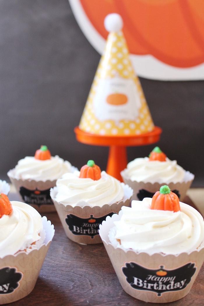 Pumpkin cupcakes from a Little Pumpkin Fall Birthday Party on Kara's Party Ideas | KarasPartyIdeas.com (18)