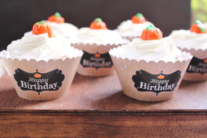 Pumpkin cupcakes from a Little Pumpkin Fall Birthday Party on Kara's Party Ideas | KarasPartyIdeas.com (17)