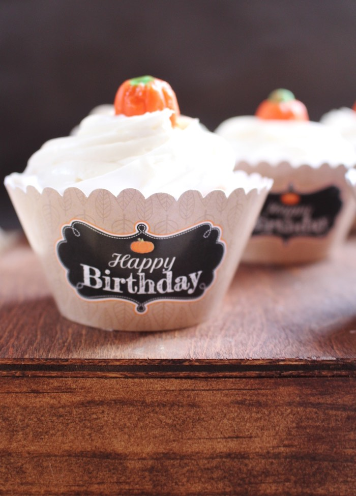 Pumpkin cupcake from a Little Pumpkin Fall Birthday Party on Kara's Party Ideas   KarasPartyIdeas.com (16)