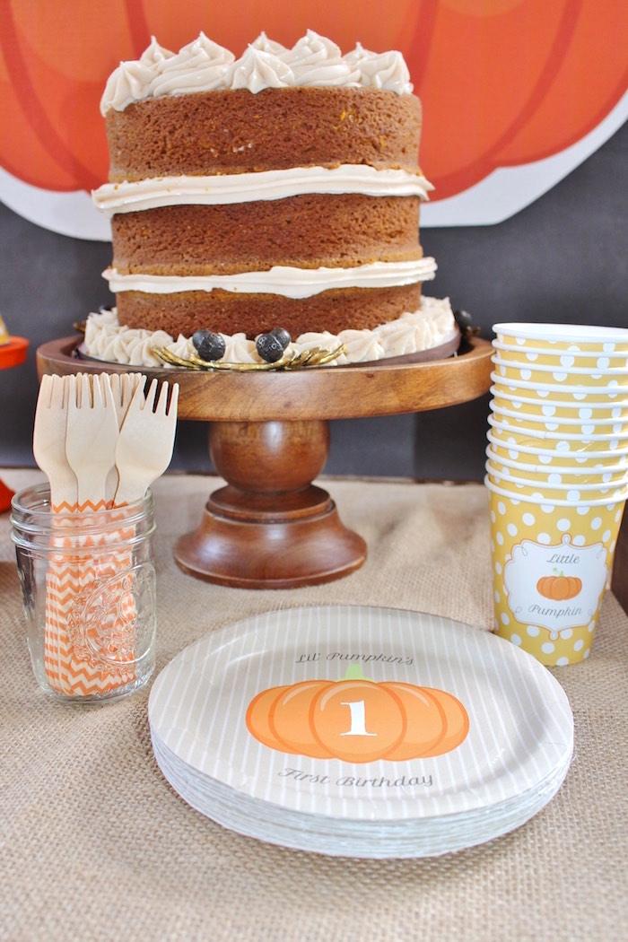 Pumpkin partyware & naked cake from a Little Pumpkin Fall Birthday Party on Kara's Party Ideas | KarasPartyIdeas.com (13)