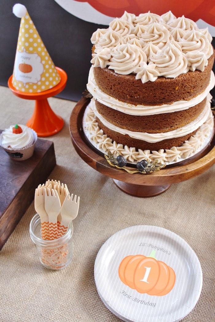 Cake detail & pumpkin partyware from a Little Pumpkin Fall Birthday Party on Kara's Party Ideas | KarasPartyIdeas.com (12)