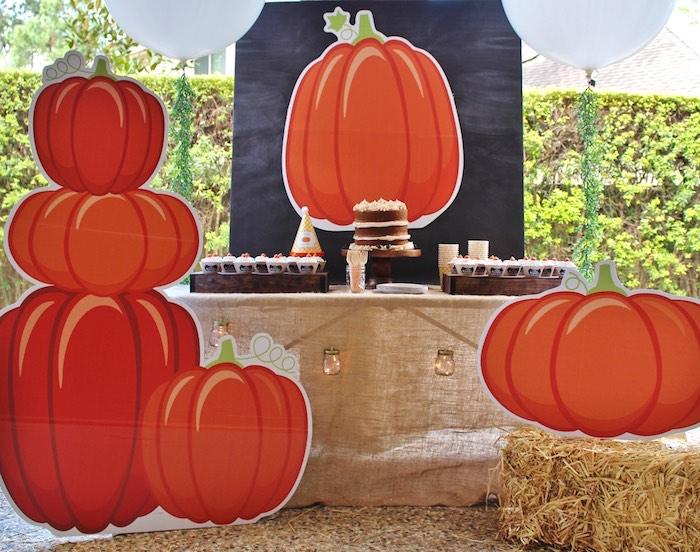 Pumpkin sweet table from a Little Pumpkin Fall Birthday Party on Kara's Party Ideas | KarasPartyIdeas.com (11)