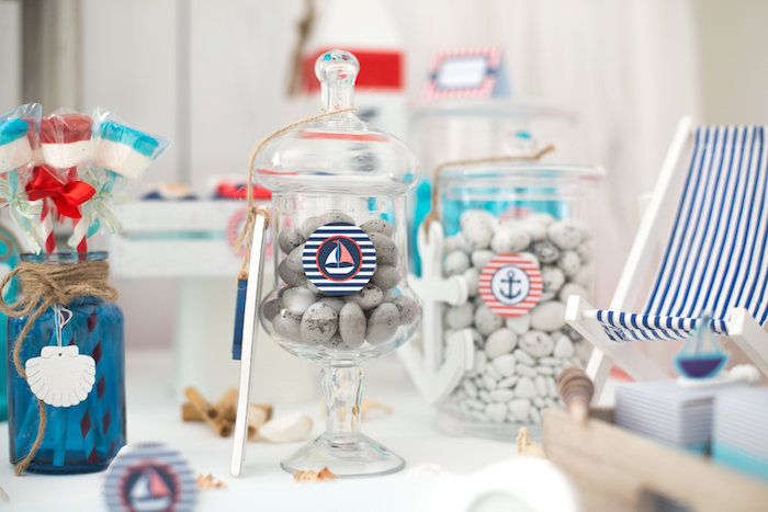 Candy jars from a Little Sailor Nautical Baby Shower on Kara's Party Ideas | KarasPartyIdeas.com (9)