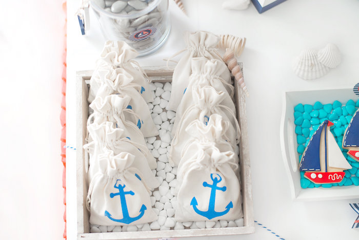 Drawstring bags printed with blue anchors from a Little Sailor Nautical Baby Shower on Kara's Party Ideas | KarasPartyIdeas.com (8)