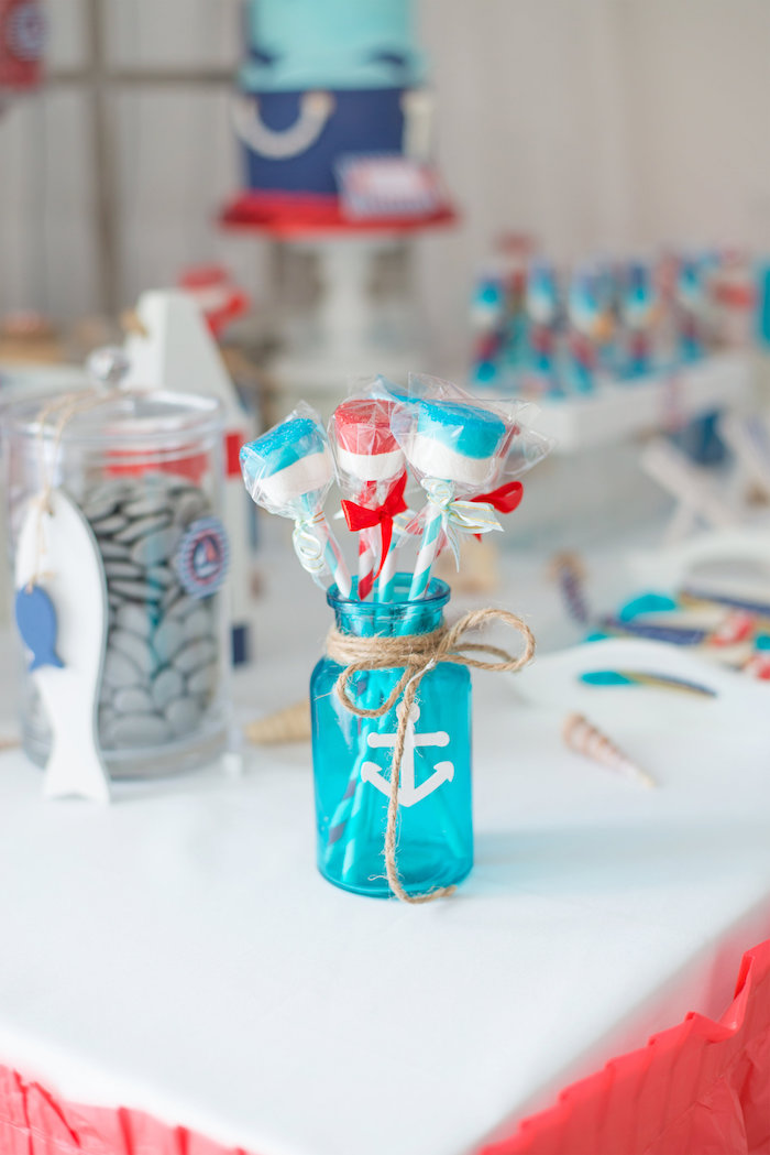 nautical marshmallow pops from a little sailor nautical baby shower on