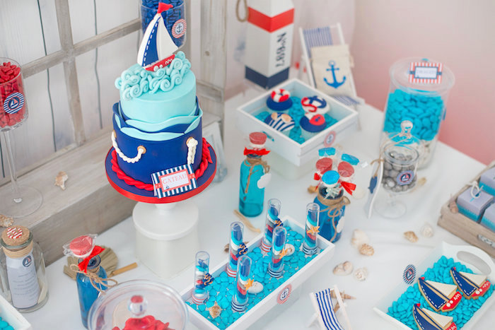 Dessert table spread from a Little Sailor Nautical Baby Shower on Kara's Party Ideas | KarasPartyIdeas.com (4)