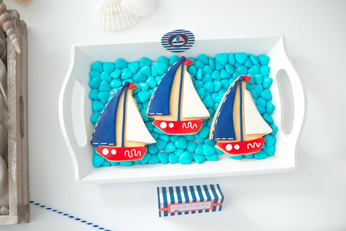 Sailboat cookies from a Little Sailor Nautical Baby Shower on Kara's Party Ideas | KarasPartyIdeas.com (17)