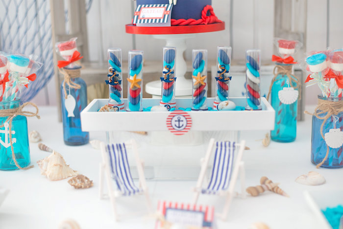 Nautical favor tubes from a Little Sailor Nautical Baby Shower on Kara's Party Ideas | KarasPartyIdeas.com (14)