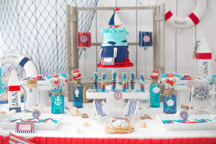 nautical sweet table from a little sailor nautical baby shower on kara