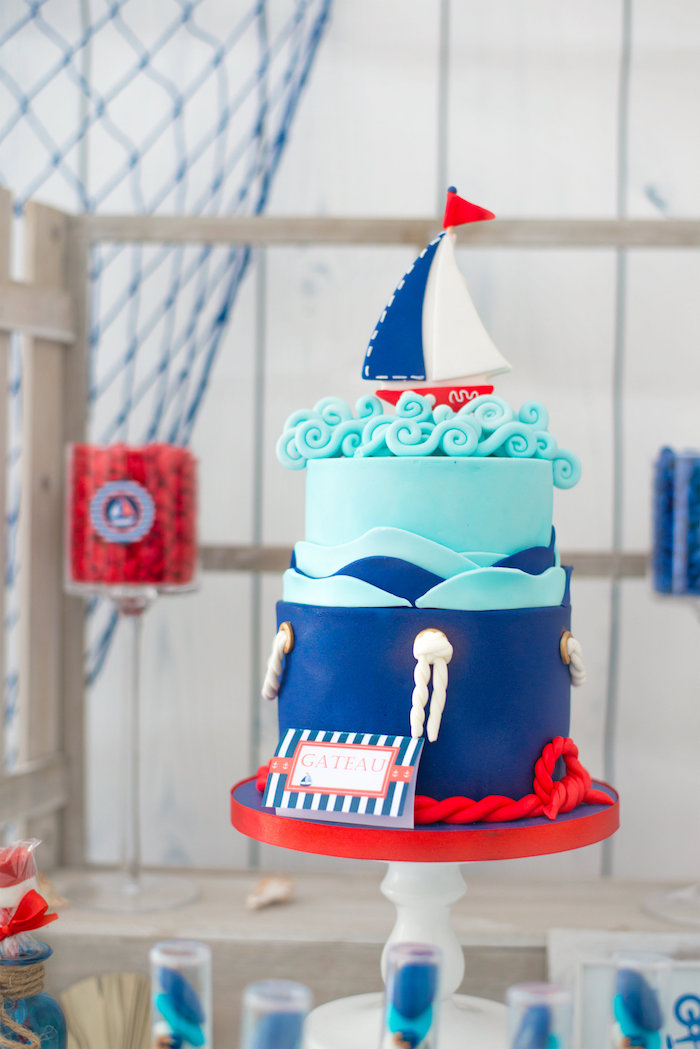 Nautical cake from a Little Sailor Nautical Baby Shower on Kara's Party Ideas | KarasPartyIdeas.com (12)