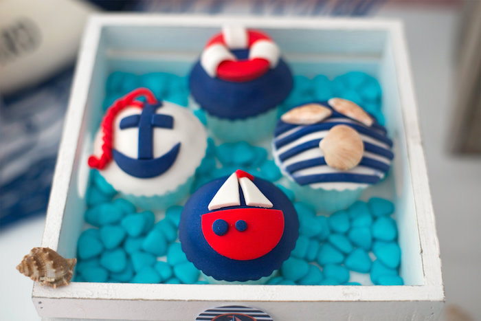 Nautical cupcakes from a Little Sailor Nautical Baby Shower on Kara's Party Ideas | KarasPartyIdeas.com (11)