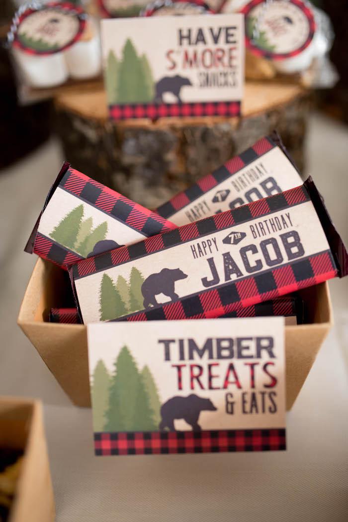 Timber treat chocolate bars from a Lumberjack Birthday Party on Kara's Party Ideas | KarasPartyIdeas.com (25)