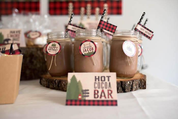 Hot cocoa in mason jars from a Lumberjack Birthday Party on Kara's Party Ideas | KarasPartyIdeas.com (22)