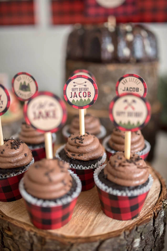 Cupcakes from a Lumberjack Birthday Party on Kara's Party Ideas | KarasPartyIdeas.com (18)