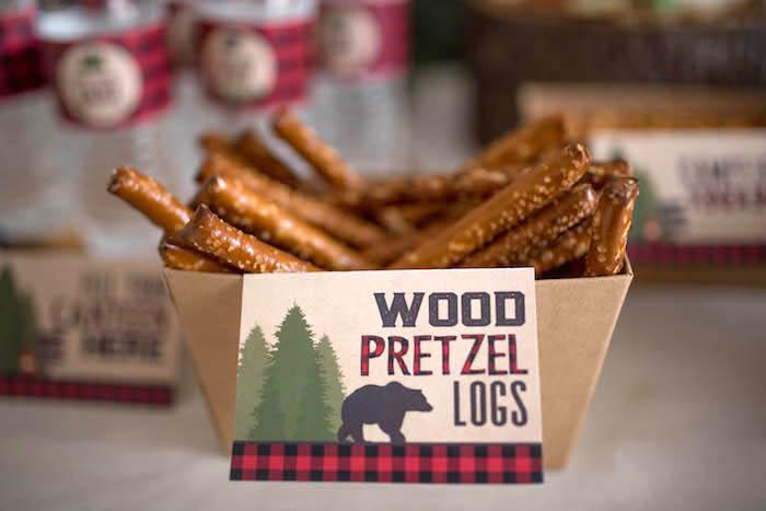 Pretzel logs from a Lumberjack Birthday Party on Kara's Party Ideas | KarasPartyIdeas.com (16)