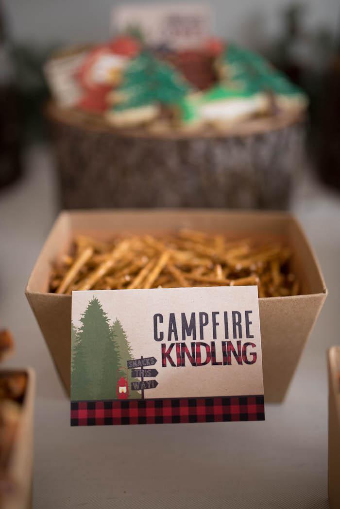 Campfire kindling + pretzel sticks from a Lumberjack Birthday Party on Kara's Party Ideas | KarasPartyIdeas.com (15)
