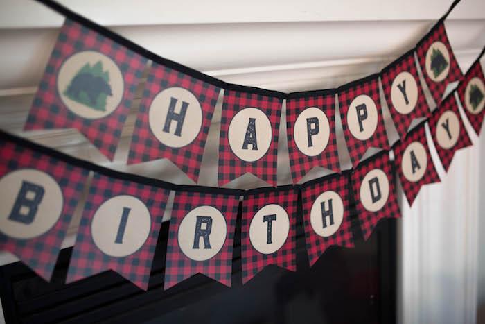 Happy Birthday Banner from a Lumberjack Birthday Party on Kara's Party Ideas | KarasPartyIdeas.com (11)