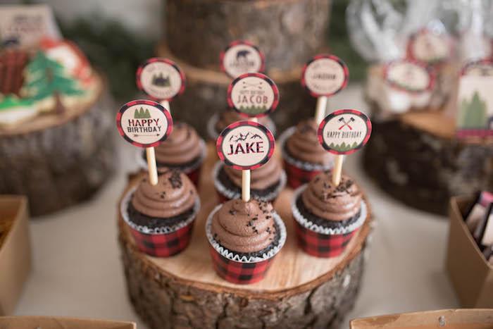 Cupcakes from a Lumberjack Birthday Party on Kara's Party Ideas | KarasPartyIdeas.com (27)