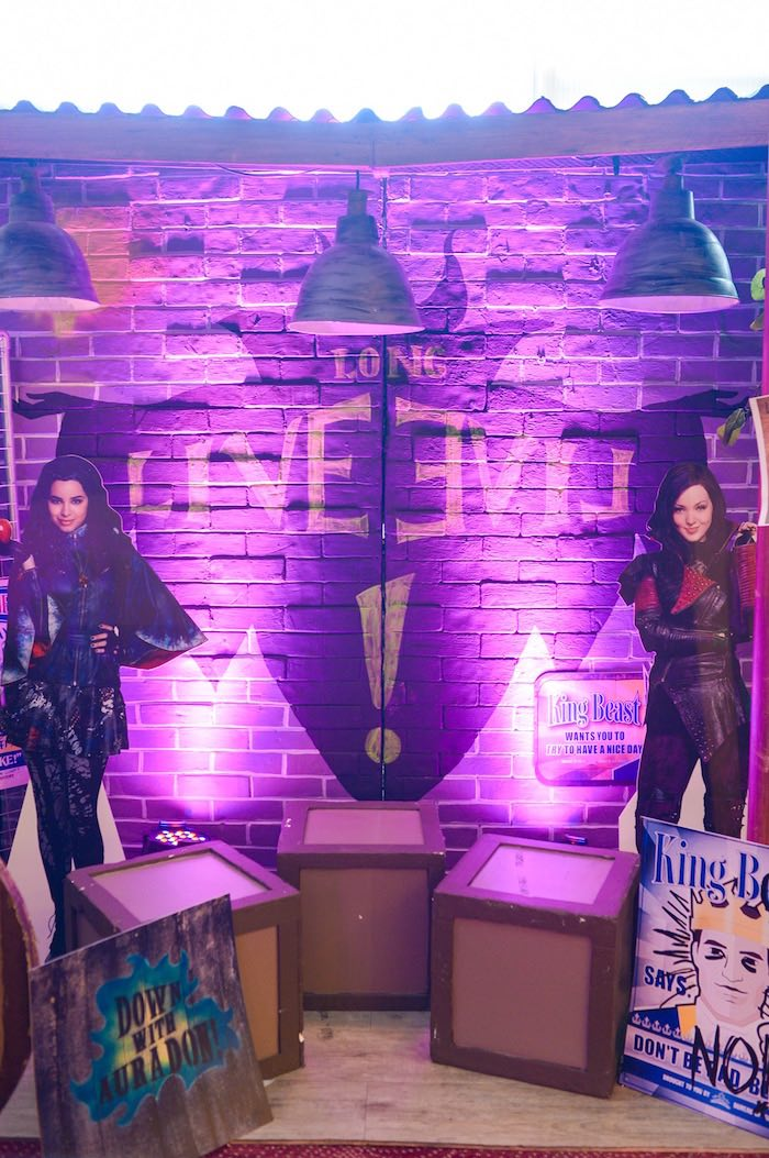 Light-lit Maleficent backdrop from a Maleficent Birthday Party on Kara's Party Ideas | KarasPartyIdeas.com (26)