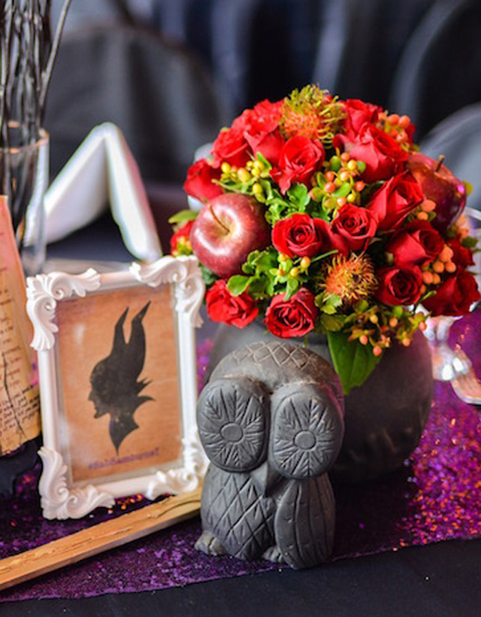 Owl floral arrangement from a Maleficent Birthday Party on Kara's Party Ideas | KarasPartyIdeas.com (20)