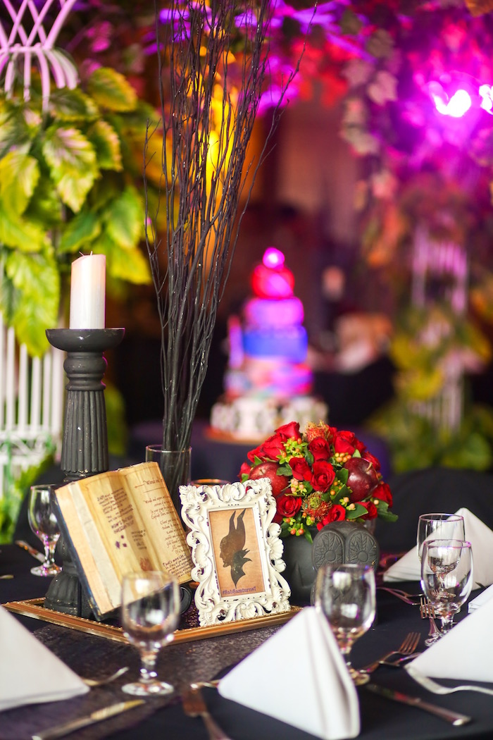 Guest table center from a Maleficent Birthday Party on Kara's Party Ideas | KarasPartyIdeas.com (36)