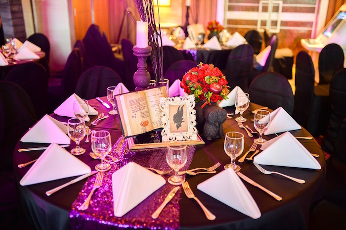 Guest table from a Maleficent Birthday Party on Kara's Party Ideas | KarasPartyIdeas.com (14)