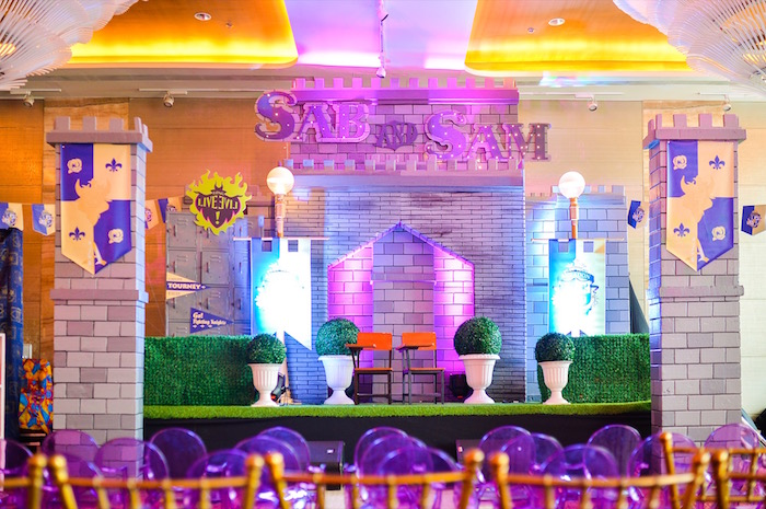 Courtyard backdrop + stage from a Maleficent Birthday Party on Kara's Party Ideas | KarasPartyIdeas.com (13)