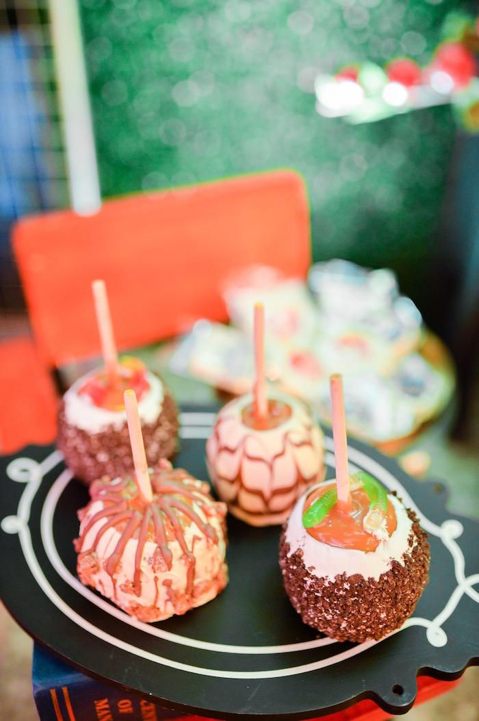 Gourmet caramel apples from a Maleficent Birthday Party on Kara's Party Ideas | KarasPartyIdeas.com (8)