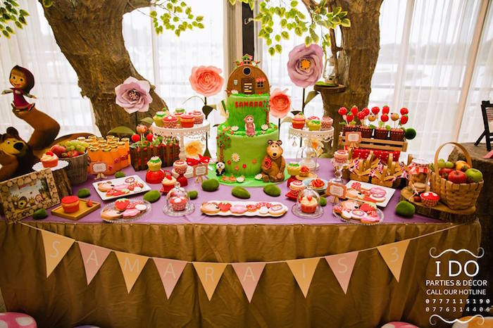 Kara S Party Ideas Masha Amp The Bear Birthday Party Kara