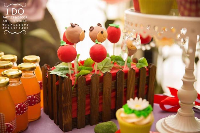 Karas Party Ideas Bear fruit cake pops from a Masha the Bear