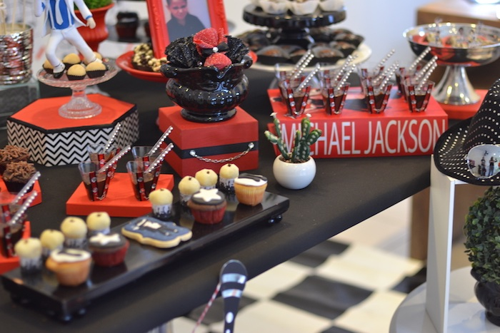 Sweet table detail from a Michael Jackson Birthday Party on Kara's Party Ideas | KarasPartyIdeas.com (10)