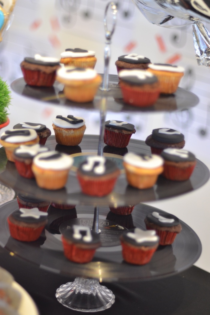 Music note cupcakes from a Michael Jackson Birthday Party on Kara's Party Ideas | KarasPartyIdeas.com (6)