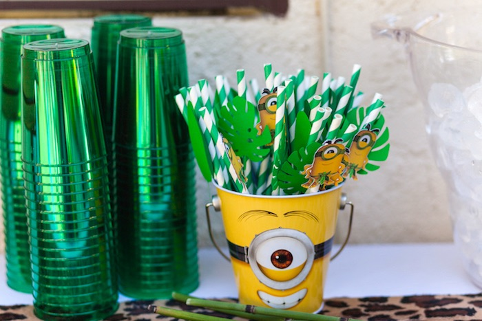 Straws & cups from a Minions Gone Bananas Birthday Party on Kara's Party Ideas | KarasPartyIdeas.com (28)