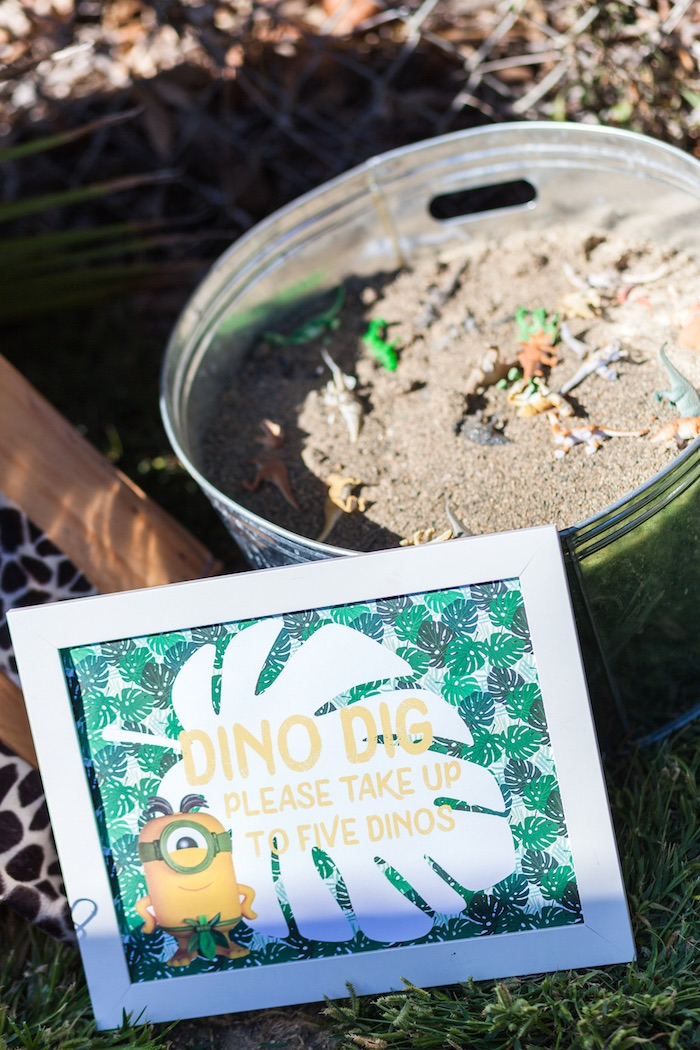 Dino dig from a Minions Gone Bananas Birthday Party on Kara's Party Ideas | KarasPartyIdeas.com (27)