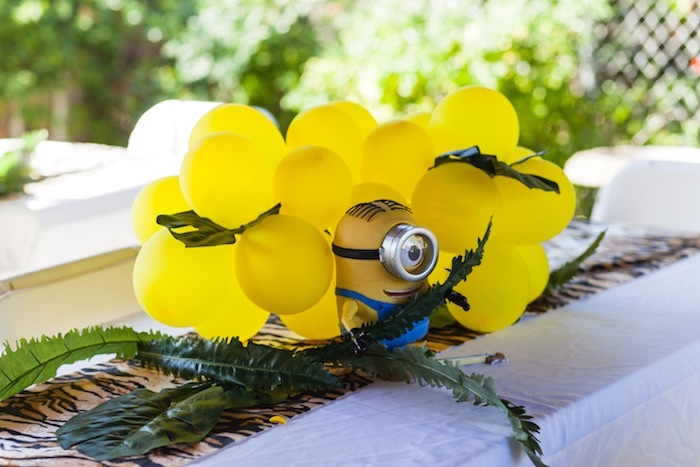 Minion balloon table centerpiece from a Minions Gone Bananas Birthday Party on Kara's Party Ideas | KarasPartyIdeas.com (24)