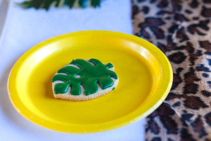 Palm leaf cookie from a Minions Gone Bananas Birthday Party on Kara's Party Ideas | KarasPartyIdeas.com (15)
