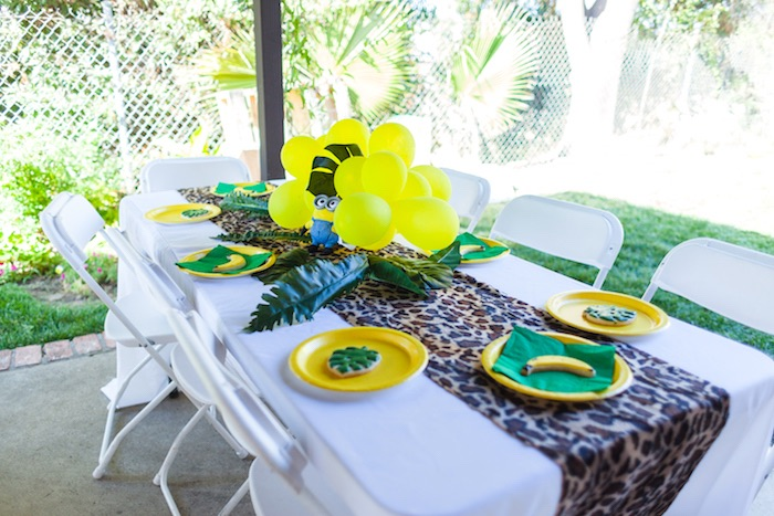 Guest table from a Minions Gone Bananas Birthday Party on Kara's Party Ideas | KarasPartyIdeas.com (14)