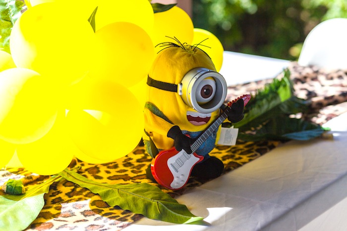 Minion table centerpiece from a Minions Gone Bananas Birthday Party on Kara's Party Ideas | KarasPartyIdeas.com (40)