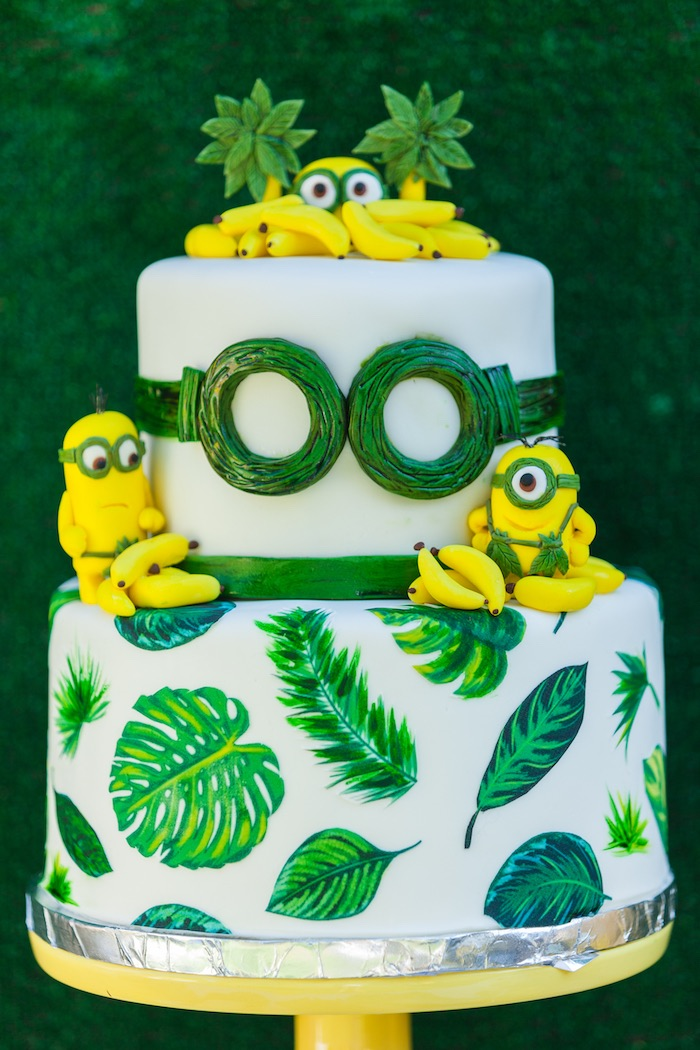 Tropical Minion cake from a Minions Gone Bananas Birthday Party on Kara's Party Ideas | KarasPartyIdeas.com (11)