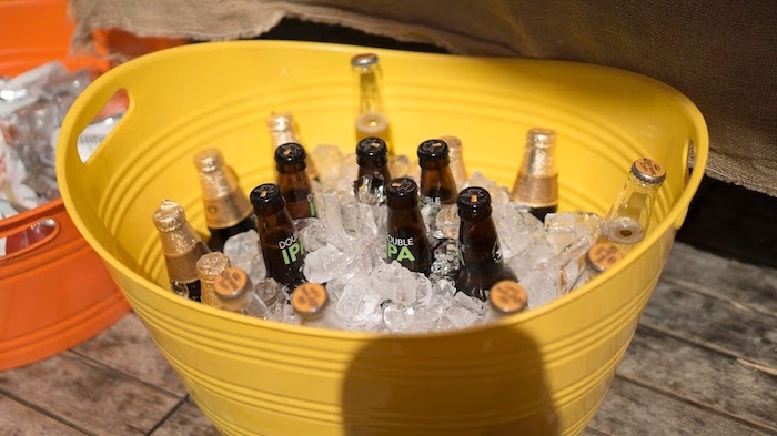 Drinks in a yellow tub from a Modern Construction Birthday Party on Kara's Party Ideas | KarasPartyIdeas.com (19)