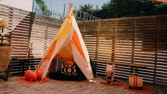 Teepee from a Modern Construction Birthday Party on Kara's Party Ideas | KarasPartyIdeas.com (14)