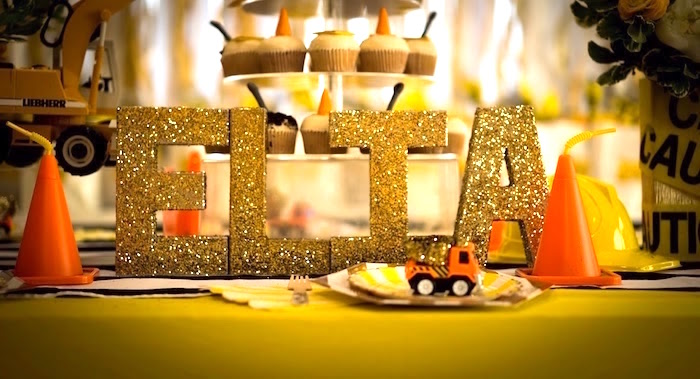 Glitter gold block letter sign from a Modern Construction Birthday Party on Kara's Party Ideas | KarasPartyIdeas.com (28)