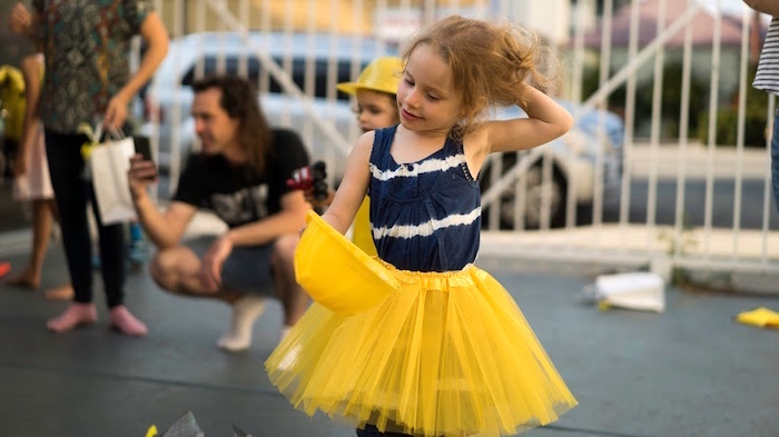 Girl in a yellow tutu from a Modern Construction Birthday Party on Kara's Party Ideas | KarasPartyIdeas.com (9)