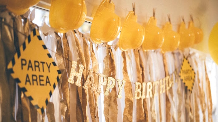 Hard hat garland + bunting from a Construction bunting + banners from a Modern Construction Birthday Party on Kara's Party Ideas | KarasPartyIdeas.com (27)