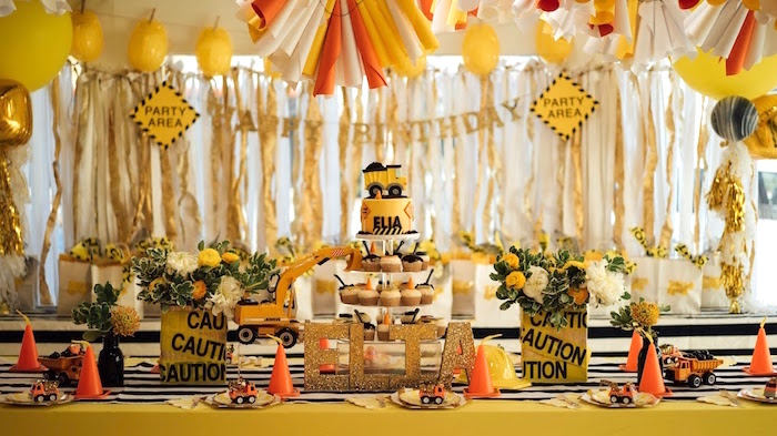 Cake table from a Modern Construction Birthday Party on Kara's Party Ideas | KarasPartyIdeas.com (25)