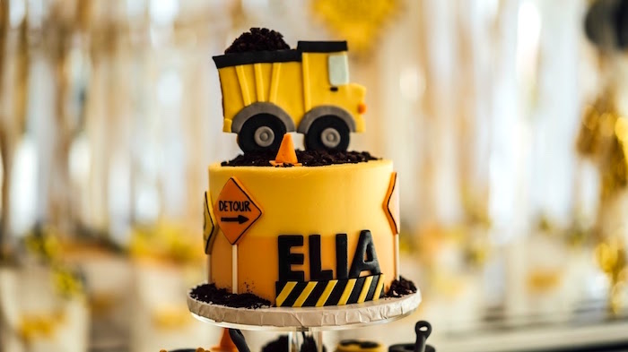 Construction cake from a Modern Construction Birthday Party on Kara's Party Ideas | KarasPartyIdeas.com (24)